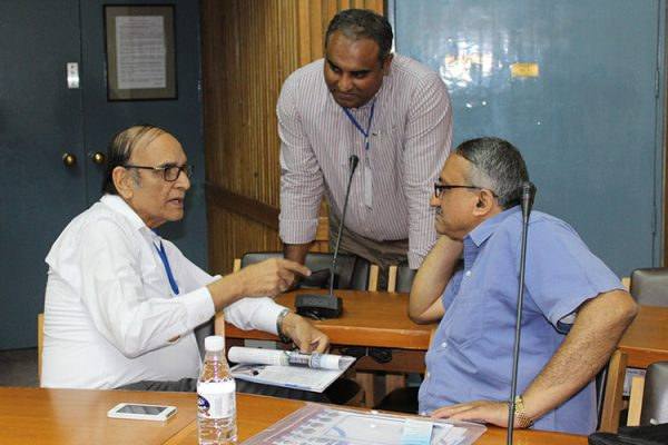6. Dr. V K Singh, Dr. Denny john and Dr. Dinesh Balish exchanging some insights in healthcare