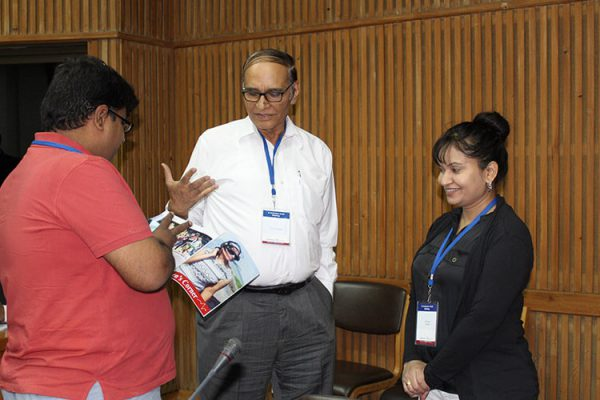 8. Dr. Raman Chawla, Dr. V K Singh and Dr. Sarita Jaiswal discussing some healthcare issues